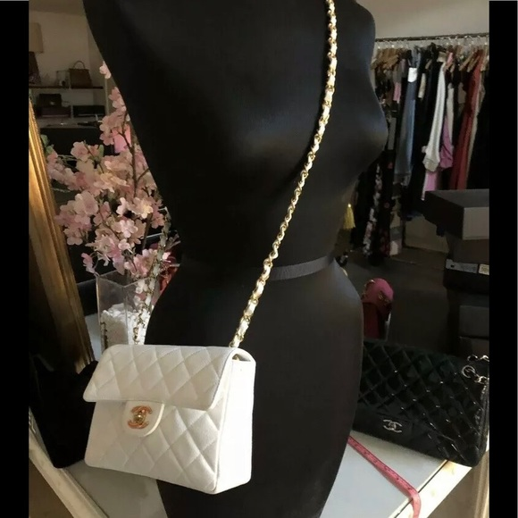 1f440d50e9f9 CHANEL Bags | Sold Auth White Caviar Square Mini Flap | Poshmark